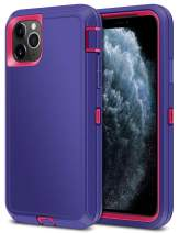 Jelanry Heavy Duty Armor for iPhone 11 Pro Max Case Dual Layer Full Body Protective Shell Shockproof Sports Rugged Phone Case Anti-Scratches Non-Slip Hybrid Case for iPhone 11 Pro Max Purple/Red