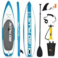 "Goplus 11ft Expedition Inflatable Stand Up Paddle Board, 6"" Thick SUP with Accessory Pack, Adjustable Paddle, Carry Bag, Bottom Fin, Hand Pump, Non-Slip Deck, Leash and Repair Kit"