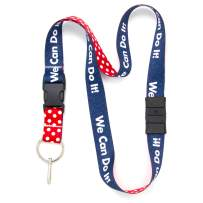 Buttonsmith Rosie Breakaway Lanyard - with Buckle and Flat Ring - Made in The USA