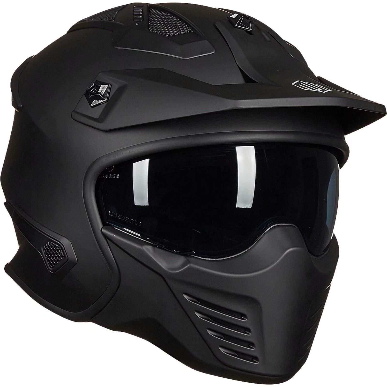 Auboa 3/4 Open Face Half Helmet Motorcycle Men with Sun Visor, Motorcycle Helmet for ATV Scooter Cruiser DOT(Matte Black, Small)