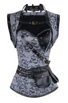 Charmian Women's Steampunk Spiral Steel Boned Vintage Retro Corset Tops Bustier