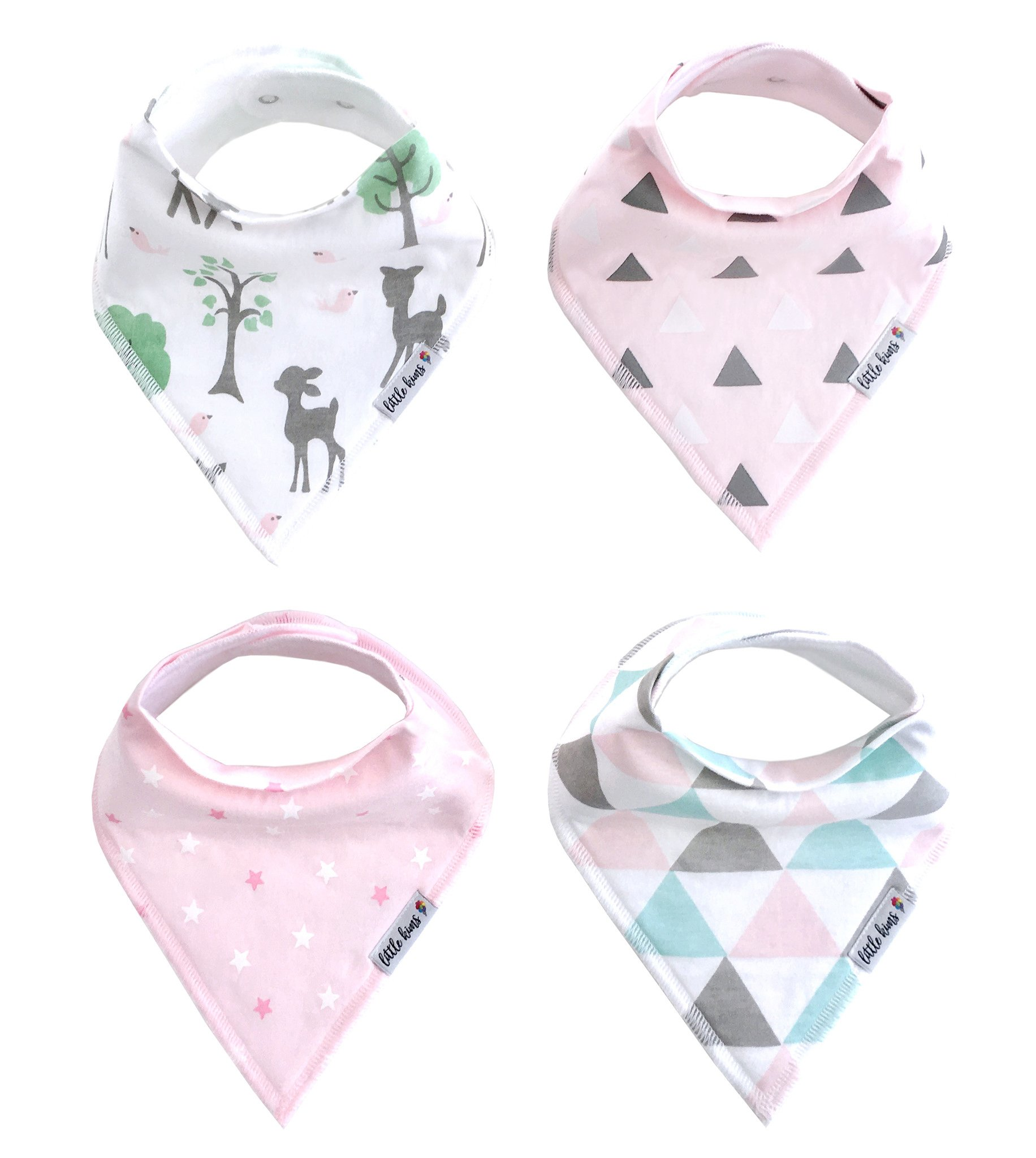 Organic Drool Bibs Bandana Bibs for Teething, Unisex Baby Bib Gift Set for Boys and Girls by Little Kims - 4-Pack Set (Enchanted Forest)