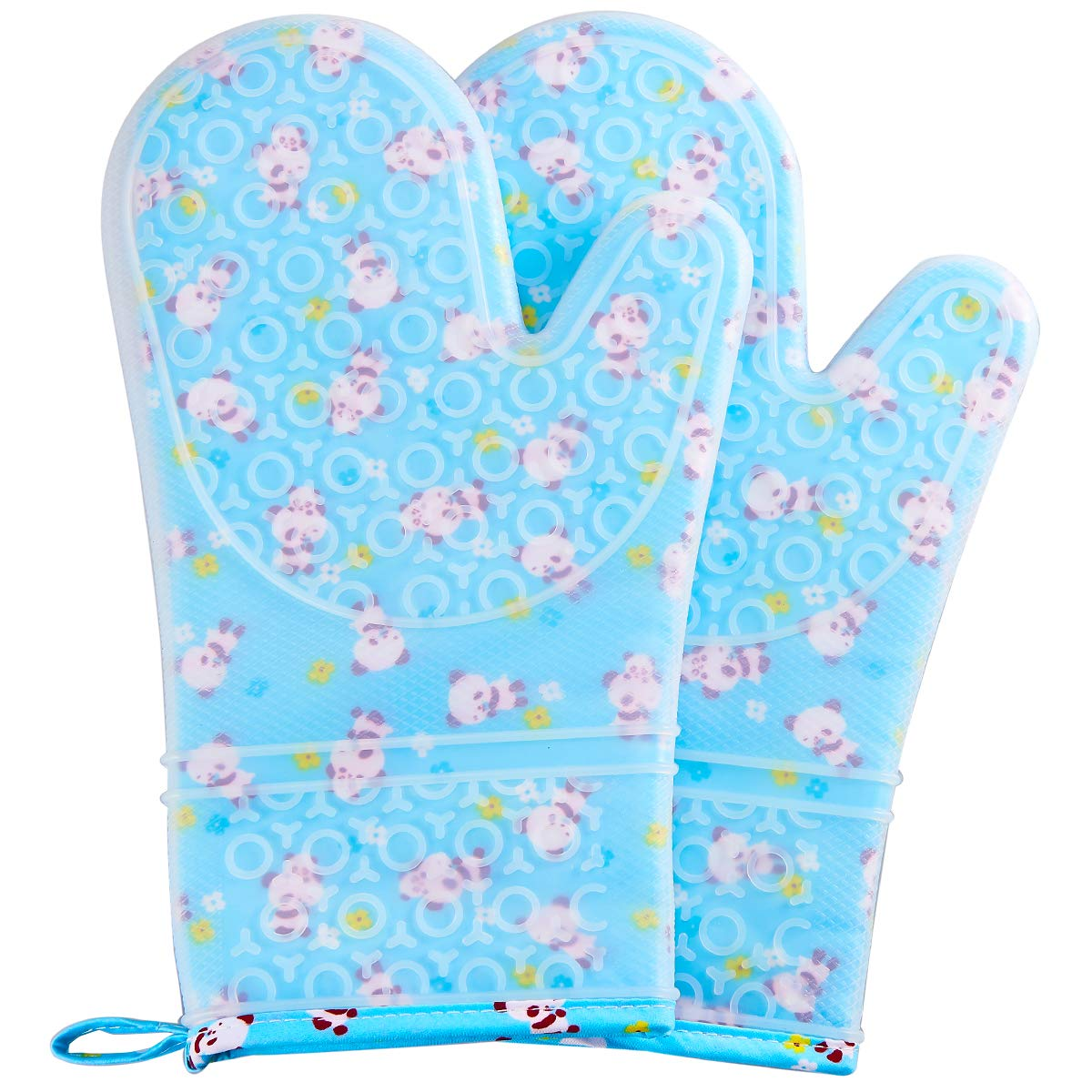 FAVIA Silicone Oven Mitts Heat Resistant to 480℉ Cooking Gloves for Grill BBQ Kitchen - Non-Slip & Waterproof BPA Free 1 Pair - Protective Cotton Lining (Medium, Blue Base with Panda)