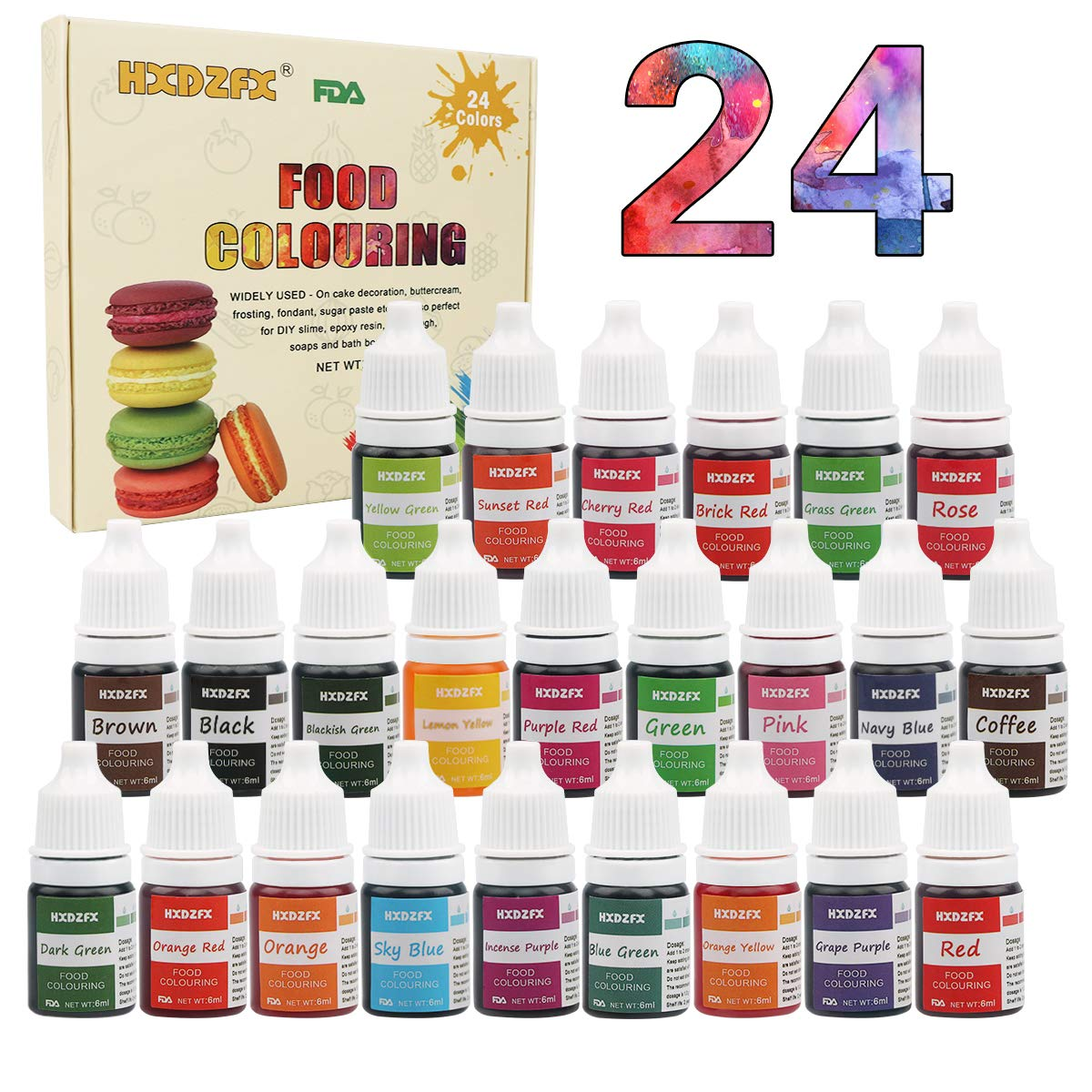 Food Coloring - 24 Color Rainbow Fondant Cake Food Coloring Set for Baking,Decorating,Icing and Cooking - neon Liquid Food Color Dye for Slime, Soap Making Kit and DIY Crafts. (6ml)