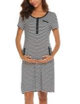 Ekouaer Short Sleeve Round Neck Night Shirt Delivery Sleep Gown Cotton Nursing Dress for Women, Black, Medium