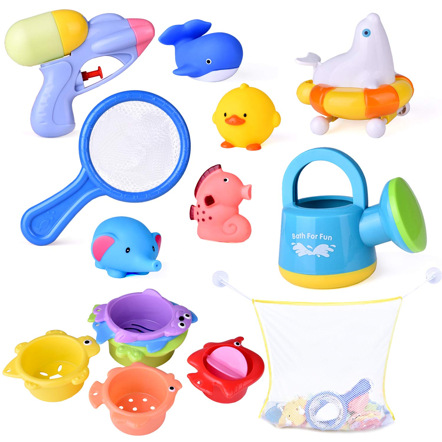 FUN LITTLE TOYS 9 PCs Baby Bath Toys with Ocean Animals Bath Squirters Toys, Stacking Cups, Water Blaster Toys, Watering Can, Fishing Net and Bath Toy Organizer Birthday Gift for Kids