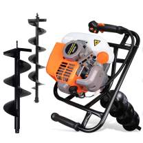 DC HOUSE 52CC Gas Auger Post Hole Digger Heavy Duty Earth Digger EPA Gas Engine Powered and 2 Drill Bits (6 inch and 10 inch) for Fence Garden Farm