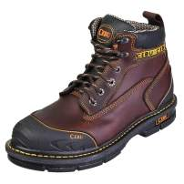 CEBU Men's Steel Toe Work Boot, Oiled Resistant, 6 inch Industrial, Utility, Safety, Leather, Breathable, Ankle, mid lace up Shoes, BorceShark
