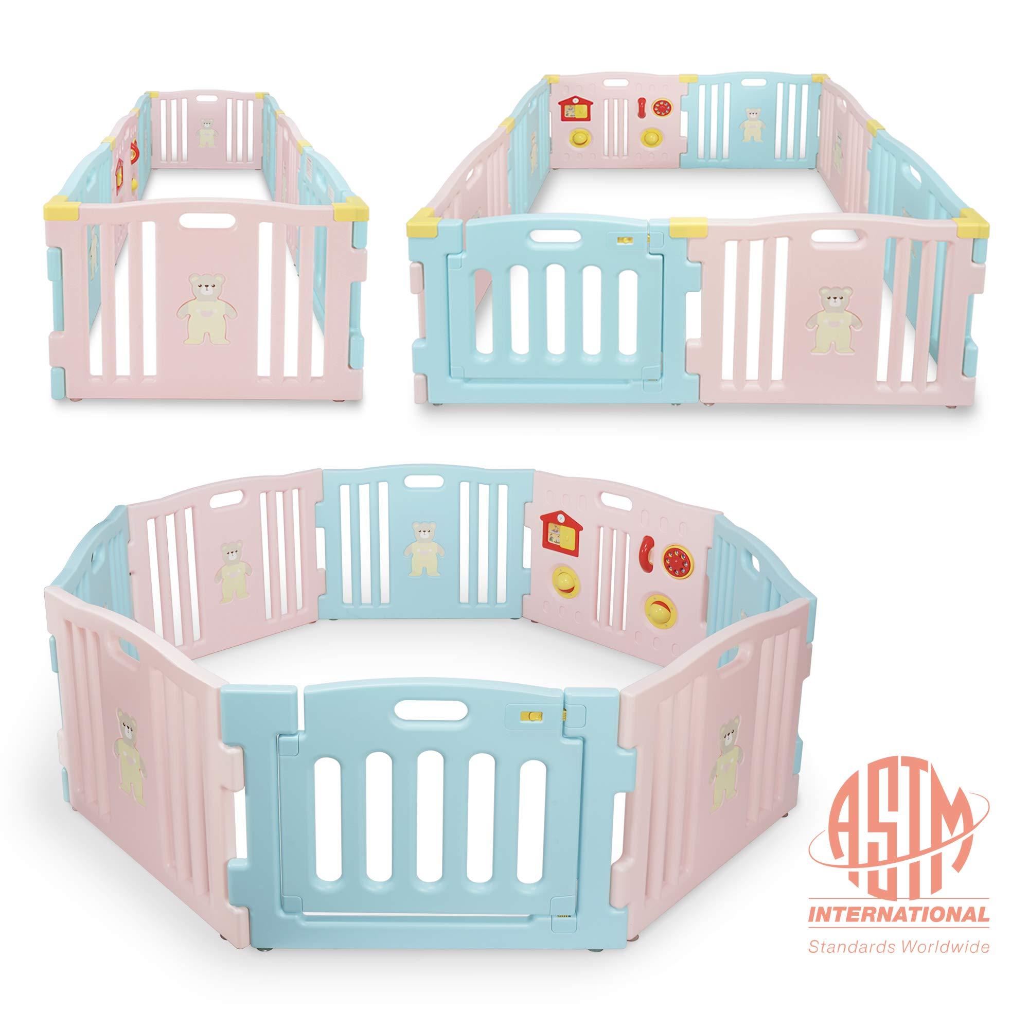 Kidzone Baby Interactive Playpen 8 Panel Safety Gate Children Play Center Child Activity Pen ASTM Certified (Pink- Blue)