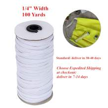 H HIKKER-LINK 100 Yards Elastic Cord 1/4 inch Braided Stretch Strap for Sewing White