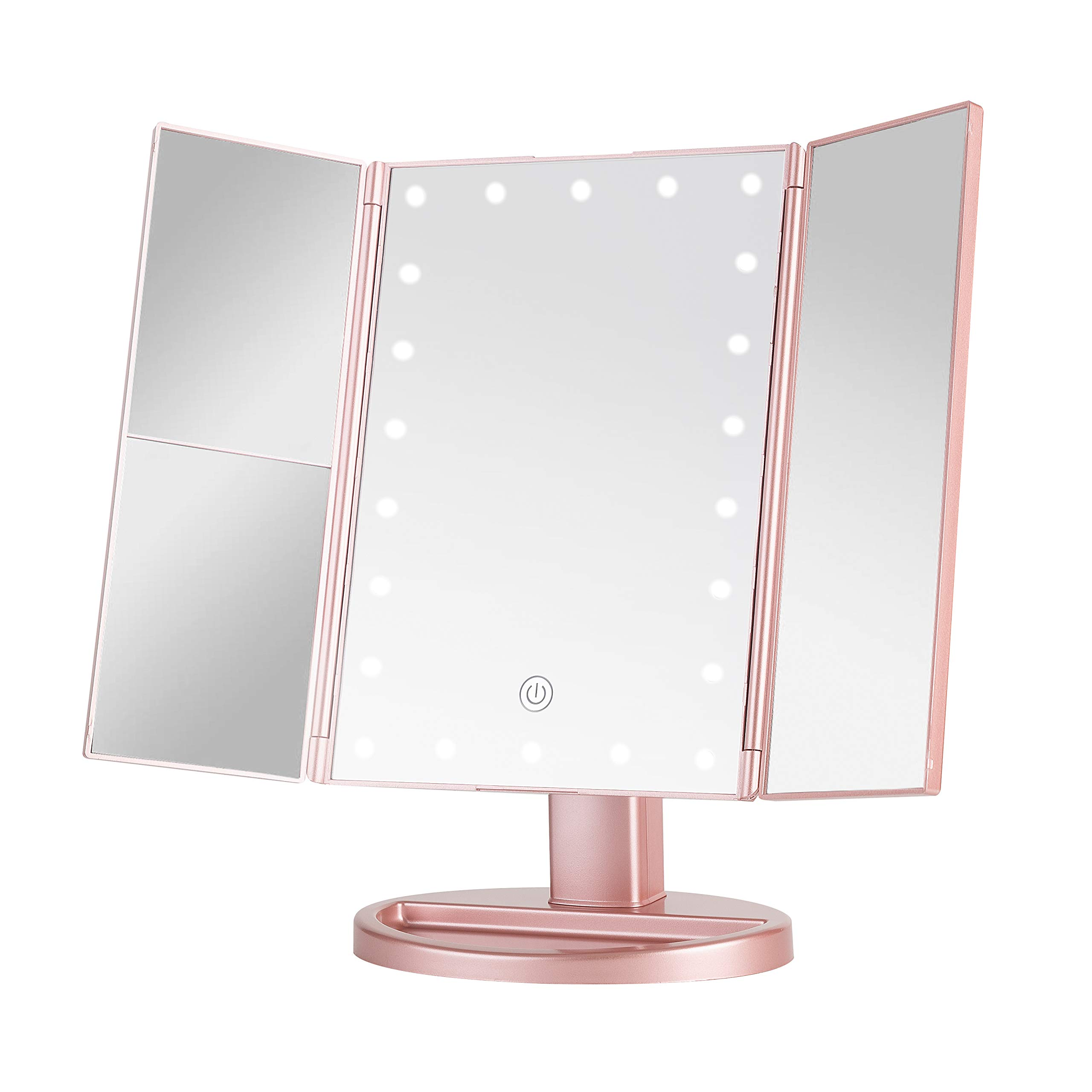 Sevillin Makeup Mirror with Lights,22 LED Vanity Mirror with 1X/2X3X Magnifica,Touch Screen Switch,Dual Power Supply,Portable Trifold Makeup Mirror Cosmetic Lighted Up Mirrortion Rose Gold