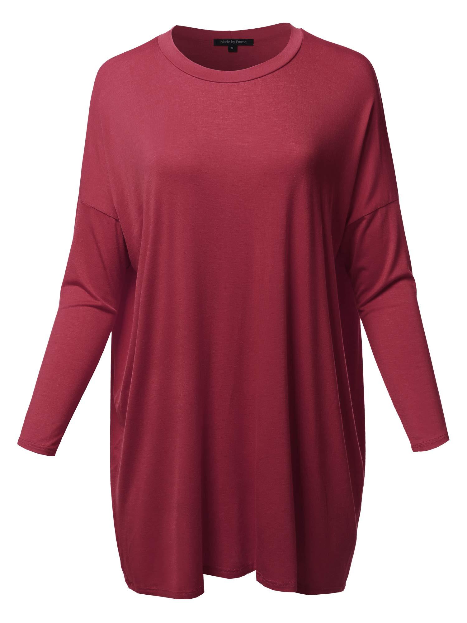 Women's Casual Stylish Solid Loose Fit Dolman Long 3/4 Sleeve Tunic Dress Top