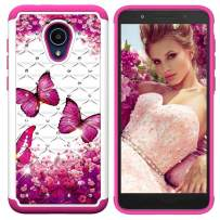 Lantier Heavy Duty Glitter Bling Hybrid Dual Layer 2 in 1 Hard Cover Soft TPU Impact Armor Defender Protective Shockproof Diamond Case for Alcatel 1X Evolve/IdealXtra 5059R/TCL LX Rose Butterfly