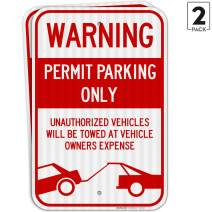 (2 Pack) Permit Parking Sign, No Parking Sign, Large 12x18 3M Reflective (EGP) Rust Free .63 Aluminum, Weather/Fade Resistant, Easy Mounting, Indoor/Outdoor Use, Made in USA by SIGO SIGNS
