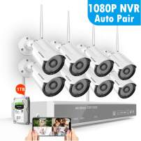 [2020 New] 1080P Full HD Security Camera System Wireless with 1TB Hard Drive,SAFEVANT 8 Channel Home NVR Systems 8PCS 2MP Oudoor Indoor Surveillance Cameras with Night Vision Motion Detection