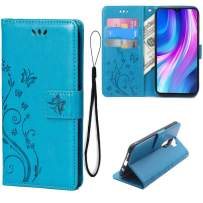Teebo Wallet Case for Xiaomi Redmi Note 8 Pro Stand Feature Card Holder[3 Slots] Embossed Butterfly Flower PU Leather Magnetic Flip Folio Cover for Xiaomi Redmi Note 8 Pro (Blue)