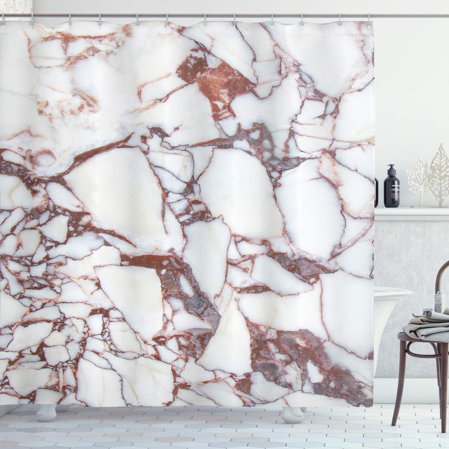 """Ambesonne Marble Shower Curtain, Dolomite Rocks Pattern with Characteristic Swirls and Cracked Lines Abstract Art, Cloth Fabric Bathroom Decor Set with Hooks, 70"""" Long, Beige Brown"""