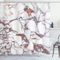 """Ambesonne Marble Shower Curtain, Dolomite Rocks Pattern with Characteristic Swirls and Cracked Lines Abstract Art, Cloth Fabric Bathroom Decor Set with Hooks, 75"""" Long, Beige Brown"""