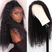 ALIPOP Kinkys Curly Lace Front Wig Human Virgin Hair Natural Black, Brazilian Curly Frontal Wigs For Black Women 100% Real Hairline 13x4 Hand Tied Swiss Lace Pre Plucke with Baby Hair(10 inches)