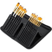 Yimaler 15Pcs Paint Brush Set Includes Pop-up Carrying Case with Free Painting Knife & Watercolor Sponge No Shed - Wood Handles Professional Painting Brushes Kit for Oil Acrylics Watercolor Gouac