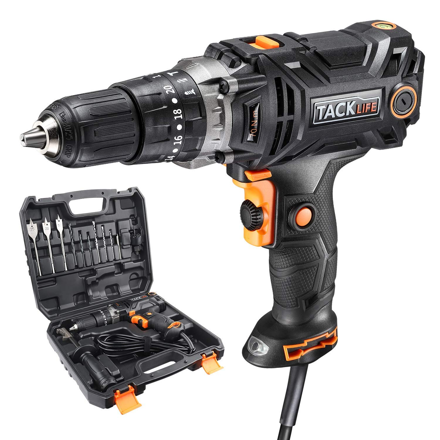Concrete Drill, TACKLIFE Hammer Drill with 620in-lb/70N.m Torque, Hammer & Drill 3 Function in 1, Paint and Mud Mixer, with 15 Drill Bits Set, Carrying Case - PID04A
