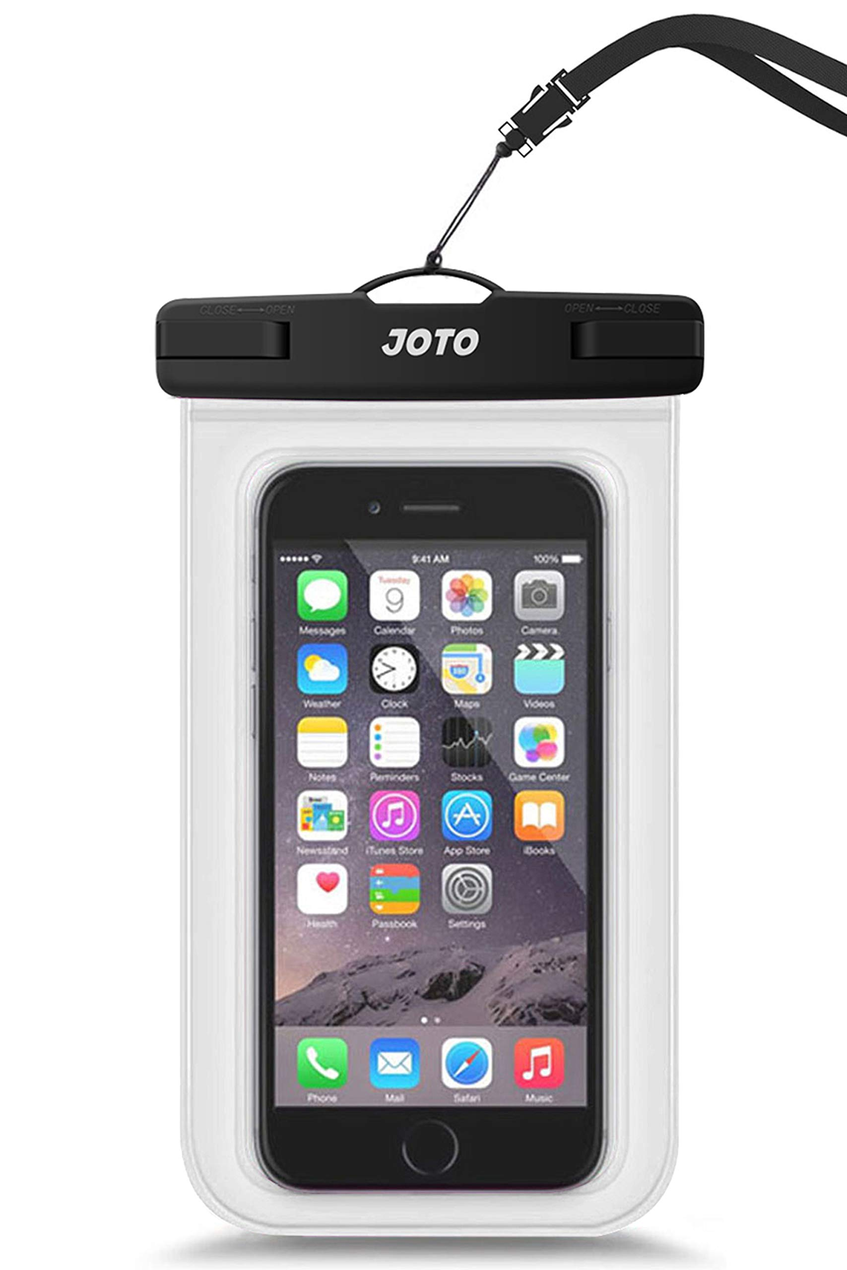 """JOTO Universal Waterproof Pouch Cellphone Dry Bag Case for iPhone 11 Pro Max Xs Max XR X 8 7 6S Plus, Galaxy S20 Ultra S20+ S10 Plus S10e S9 Plus S8/Note 10+ 10 9 8, Pixel 4 XL 3a up to 6.9"""" -Clear"""