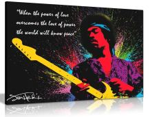 Jimi Hendrix Quote Colour Splash Canvas Wall Art Picture Print (36x24in)