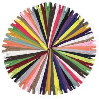 "YaHoGa 50pcs 24 Inch (60cm) Nylon Coil Zippers for Sewing Crafts Tailor Nylon Zippers Bulk 20 Colors (24"" 50pcs)"