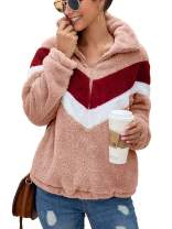 TEMOFON Women Fashion Long Sleeve Half Zipper Sherpa Sweatshirt Faux Shearing Fuzzy Fleece Pullover Jacket Coat Pockets Pink M