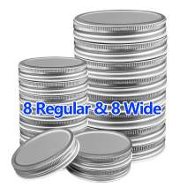 Mason Jar Lids 16 Packs, 8 Wide Mouth and 8 Regular Mouth Mason Jar Lids Leak Proof Jars Lids for Ball, Kerr and More Storage Silver Canning Jar Lids