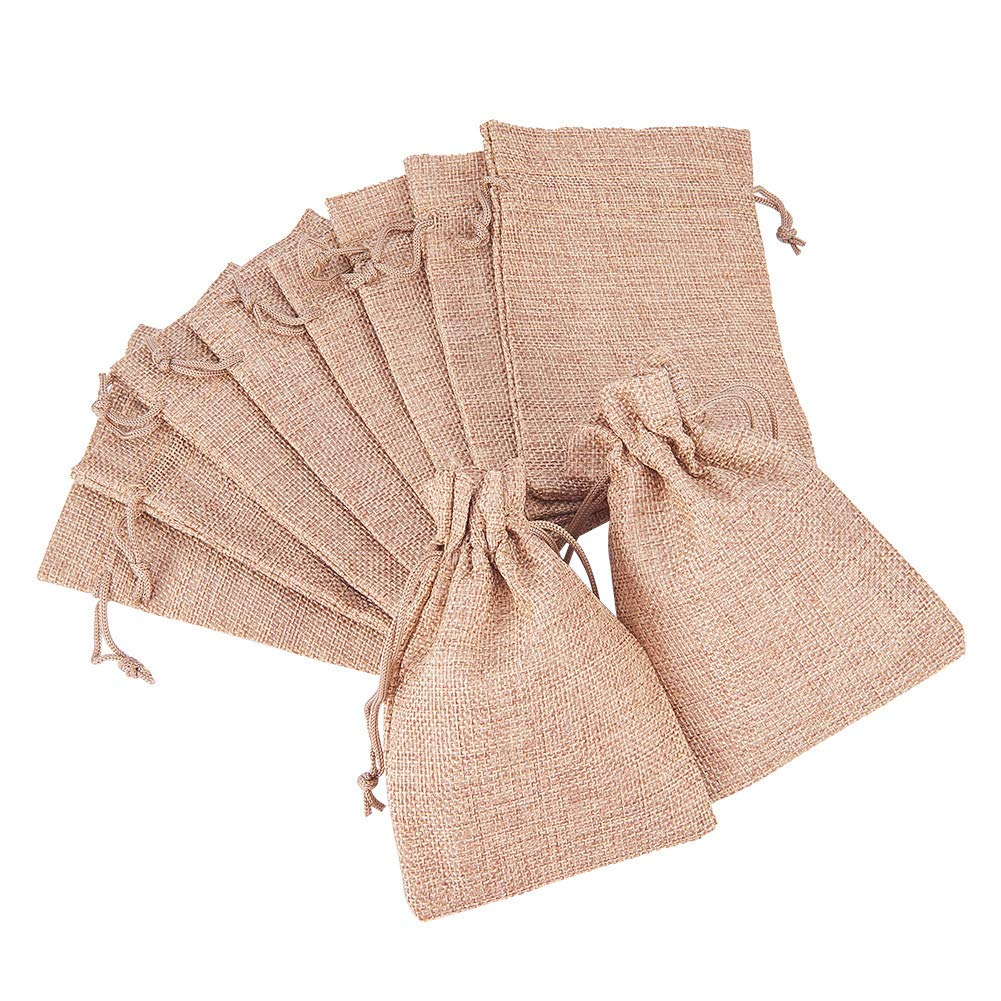 BENECREAT 30Pack Linen Burlap Bags with Drawstring Gift Bags Jewelry Pouch for Wedding Party and DIY Craft, 5.3 x 3.7 Inch