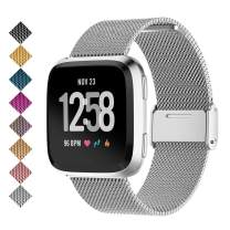SMEECO Compatible for Metal Stainless Steel Strong Magnetic Loop Smartwatch Mesh Wrist Band Universal Use for Men and Women Fitbit Versa 2 /Fitbit Versa/Versa Lite Edition/SE Large (Silver)