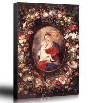 wall26 - Oil Painting of The Virgin and Child in a Garland of Flower by Peter Paul Rubens in 1621 - Baroque Style - Catholic - Canvas Art Home Decor - 24x36 inches