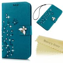 Mavis's Diary Galaxy A42 5G Case, 3D Handmade Wallet Bling Crystal Diamonds Butterfly Fashion Embossed Floral PU Leather Cover with Hand Strap Magnetic Clasp Card Holders
