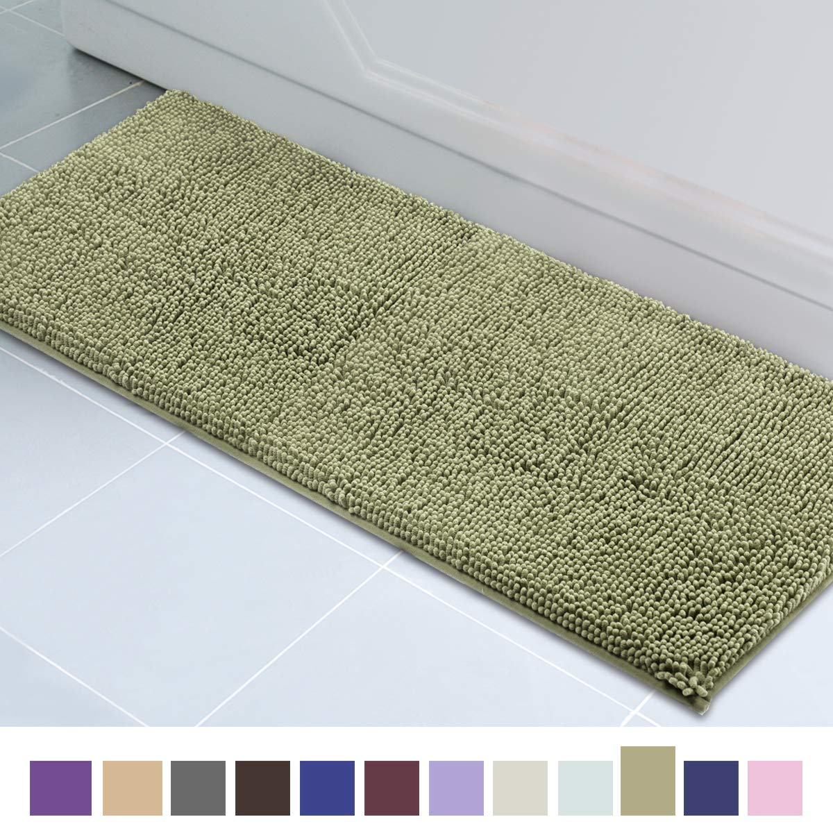 ITSOFT Non Slip Shaggy Chenille Soft Microfibers Runner Large Bath Mat for Bathroom Rug Water Absorbent Carpet, Machine Washable, 21 x 59 Inches Sage Green
