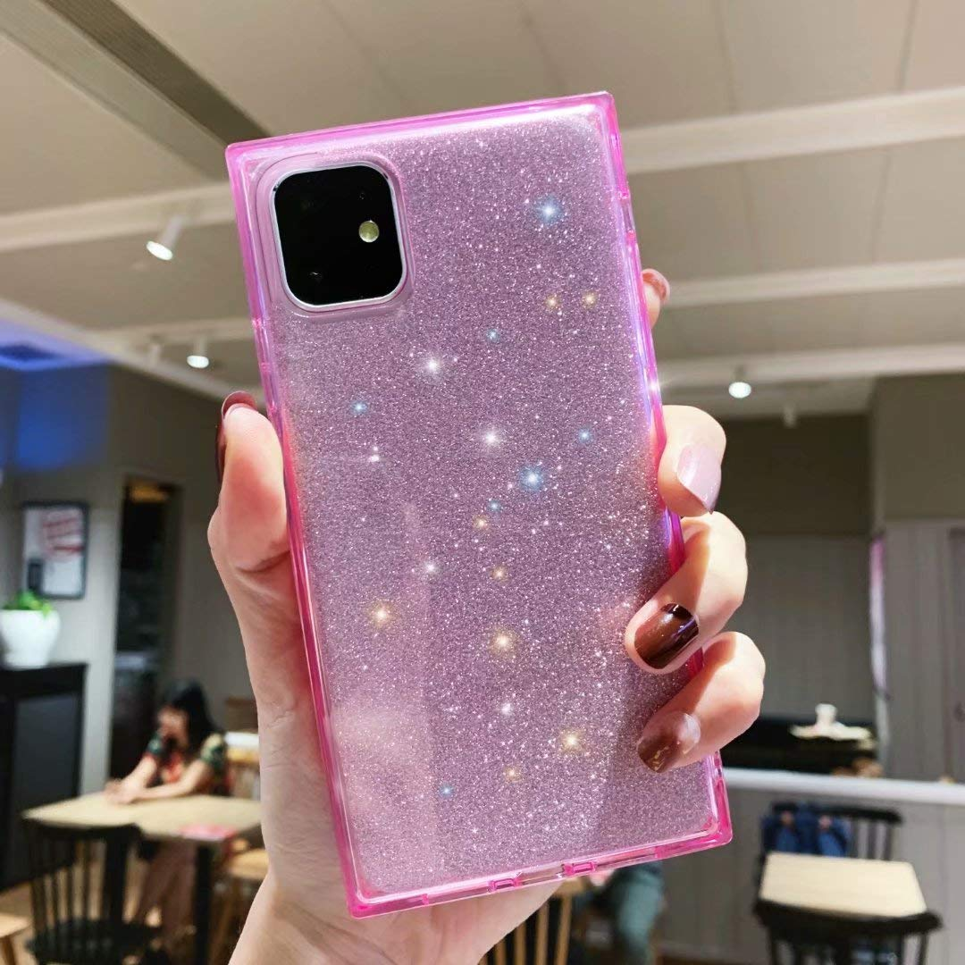iPhone 11 Square Case for Girls,Tzomsze Glitter Case iPhone 11 Reinforced Corners TPU Cushion,Crystal Clear Slim Cover Shock Absorption TPU Shell-Pink