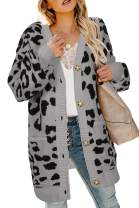 Pxmoda Womens Long Sleeve Leopard Cardigan Casual Open Front Knitted Warm Sweater Coat Outwear with Pocket