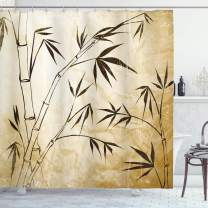 """Ambesonne Bamboo Shower Curtain, Gradient Bamboo Leaves Flexibility Complex Root Structure Stable Travelers Image, Cloth Fabric Bathroom Decor Set with Hooks, 70"""" Long, Brown Cream"""
