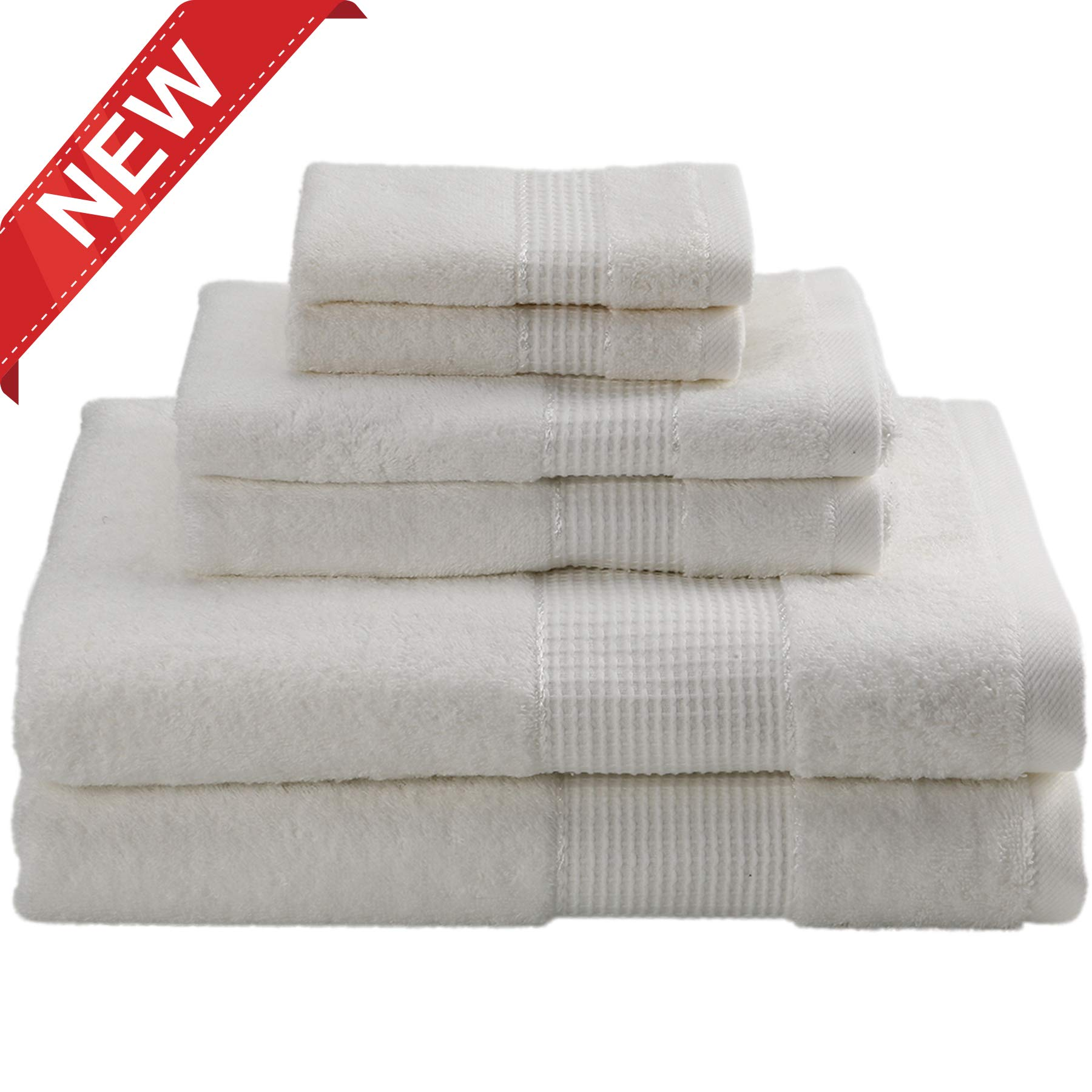 DOZZZ 6 Pack Egyptian Cotton Towel Set - 2 Bath Towels 2 Hand Towels 2 Washcloths for Bathroom Face Gym and Spa with Premium Soft and Absorbent Hotel Quality