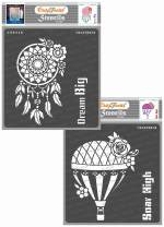 CrafTreat Dreamcatcher Stencils for Painting on Wood, Canvas, Paper, Fabric, Wall and Tile - Dream Big and Soar High - 2 Pcs - 6x6 Inches Each - Reusable DIY Art and Craft Stencils for Home Décor