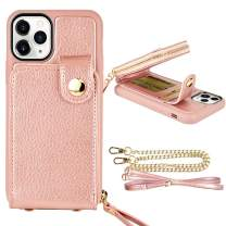 "iPhone 11 Pro (5.8"", 2019) Wallet Case, ZVE Case for iPhone 11 Pro, Zipper Wallet Case with Credit Card Holder Slot Wrist Strap and Adjustable Crossbody Strap Case for iPhone 11 Pro 5.8 inch-Rose Gold"