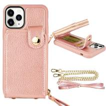 """iPhone 11 Pro (5.8"""", 2019) Wallet Case, ZVE Case for iPhone 11 Pro, Zipper Wallet Case with Credit Card Holder Slot Wrist Strap and Adjustable Crossbody Strap Case for iPhone 11 Pro 5.8 inch-Rose Gold"""