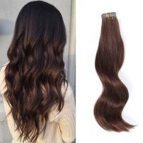 ABH AmazingBeauty Hair Semi-permanent Real Remi Remy Hair Tape Extensions 50g 20pcs Tape Attached Skin Weft Invisible Seamless Reusable Dark Brown Color 3 20 Inch
