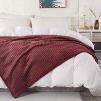 """COCOPLAY W Flannel Fleece Luxury Throw Blanket,Lightweight Super Warm Soft and Cozy,Throw for Couch Sofa Bed,All Season Use (Stripe-Red, Twin(60""""x80""""))"""