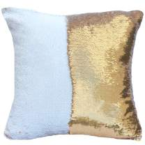 """URSKYTOUS Reversible Sequin Pillow Case Decorative Mermaid Pillow Cover Color Changing Cushion Throw Pillowcase 16"""" x 16"""",White and Gold"""