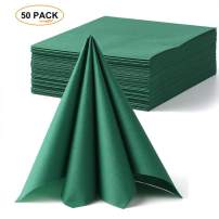 "Lekoch Green Napkins Disposable Cloth Feel Dinner Napkin Air-Laid Paper Napkins Guest Hand Towels for Kitchen Green Theme Party 14.56"" x 14.56"" (50 Count)"