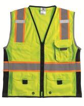 Kishigo 1513 Ultra-Cool Polyester Black Series Heavy Duty Vest, Medium, Lime