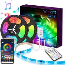 32.8Ft LED Strip Lights Music Sync Color Changing RGB LED Strip 23-Key Remote, Sensitive Built-in Mic, App Controlled LED Lights Rope Lights, 5050 RGB LED Light Strip(APP+Remote+Mic+3 Button Switch)