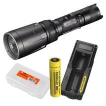 Nitecore Premium High Power Bundle SRT7GT 1000 Lumen Smart Ring Tactical Flashlight - 3500mAH Rechargeable Battery, UM10 USB Charger and LumenTac Battery Organizer