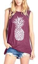 Pineapple Tank Tops Women Summer Fruits Lover Casual Sleeveless Tops Fruit Graphic Shirt Summer Beach Vacation Tops Tees